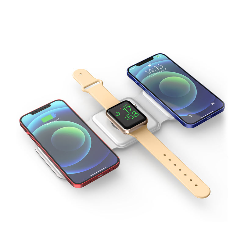Wiwu Power Air 3 In 1 Magnets 15w Wireless Charger For Iwatch Iphone Airpods (1)
