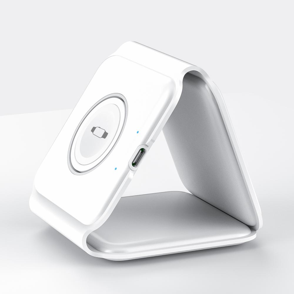 Wiwu Power Air 3 In 1 Magnets 15w Wireless Charger For Iwatch Iphone Airpods (4)