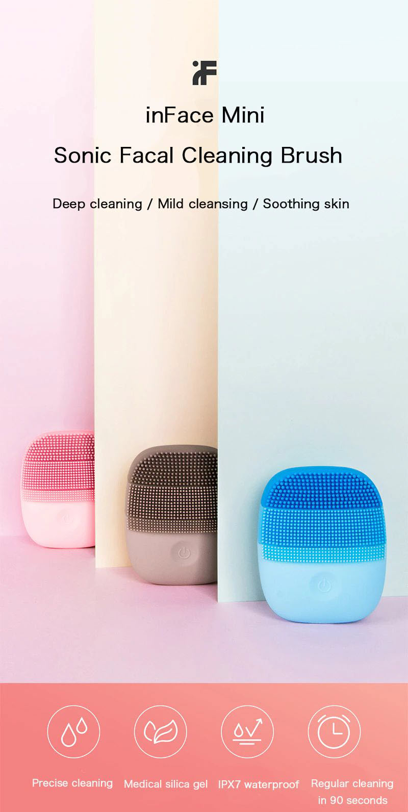 Xiaomi Inface Mini Sonic Silicone Deep Cleaning Face Washing Instrument (4)