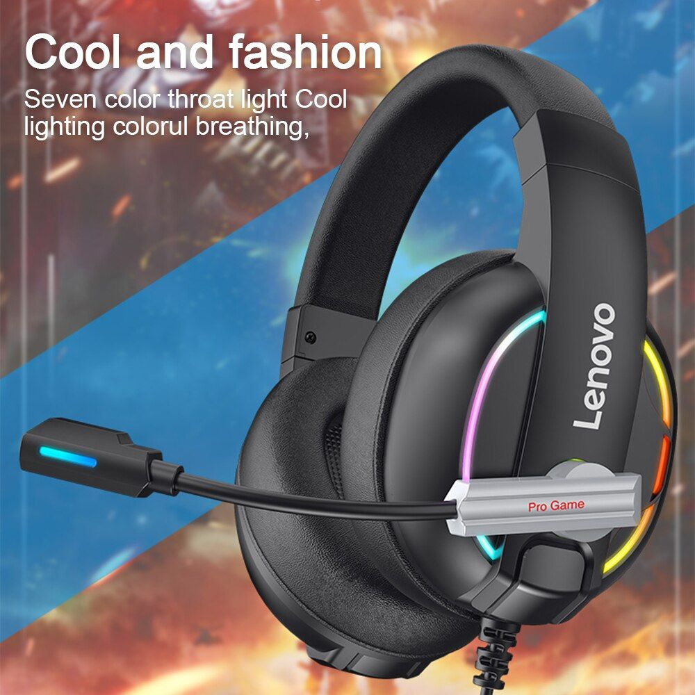 Lenovo Hu75 Wired Headset Hifi Surround Sound Rgb Colorful Light Music Game Headphone With Microphone For
