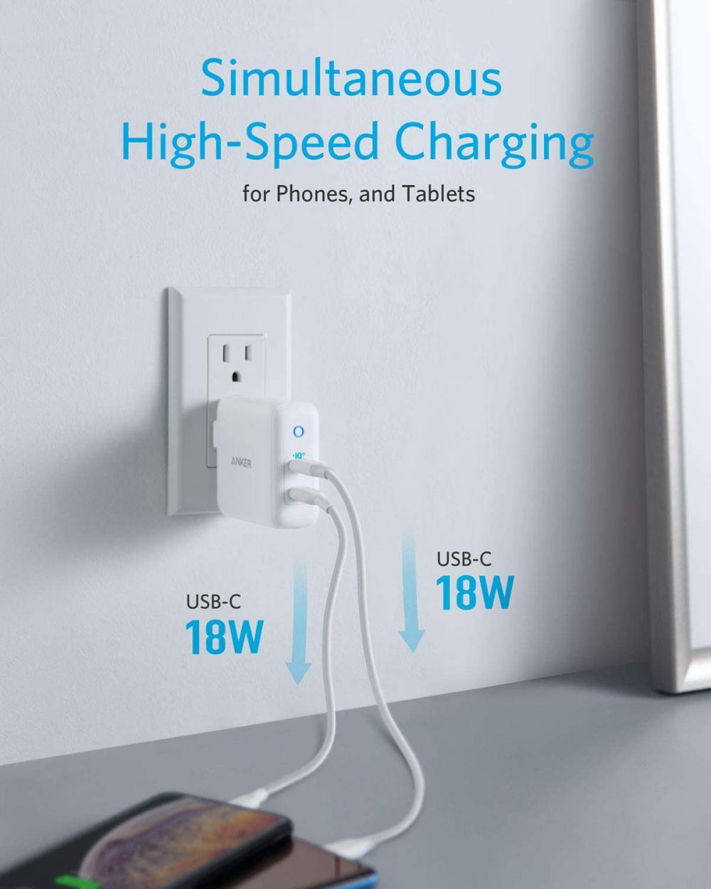 Anker Powerport Iii Duo 36w 2 Port Poweriq 3 0 Usb C Charger (2)