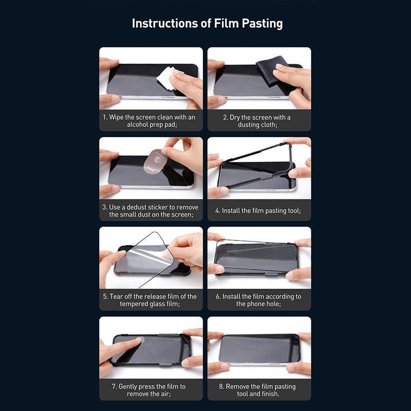 Baseus 2pcs 0 3mm Full Screen Full Glass Tempered Glass Film For Iphone 13 13 Pro 13 Pro Max (1)