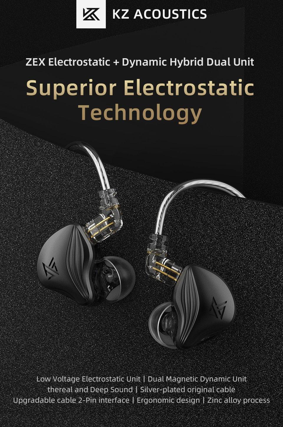 Kz Zex Electrostatic Earphones Double Unit Electrostatic And Dynamic (2)